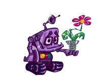 Robot with flower Stock Photography