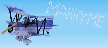 Robot flying a biplane sky writing Stock Images