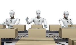 Robot fonctionnant avec des boîtes de carton Images libres de droits