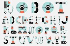 Robot font collection flat design. Robot font,robotics,sci fi alphabet set Stock Photos