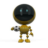 Robot with football ball. Robotic football fan with ball isolated on white Royalty Free Stock Images