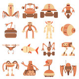 Robot forms icons set, cartoon style. Robot forms icons set. Cartoon illustration of 16 robot forms vector icons for web Royalty Free Stock Photo