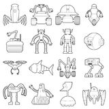 Robot forms icons set, outline style. Robot forms icons set. Outline illustration of 16 robot forms vector icons for web Stock Photography