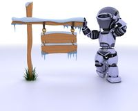 Robot with a frozen blank road sign. 3d render of a robot with a frozen blank road sign Stock Photos
