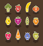Robot fruit and vegetable icon characters. Cute fruit and vegetable zombies Royalty Free Stock Image
