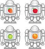 Robot and fruits. Illustration of robot and fruits  art Royalty Free Stock Images