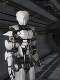 Robot futurista en pasillo del fi del sci. Imagenes de archivo