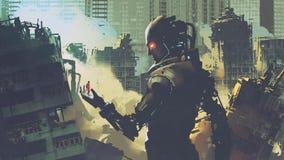 Robot futurista gigante que mira a la mujer en su mano Imagenes de archivo