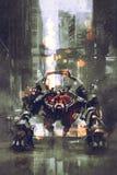 Robot futuriste avec de grands bras commandés par l'humain illustration de vecteur