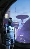 Robot and futuristic city Stock Image