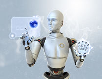 Robot and a futuristic interface Stock Photography