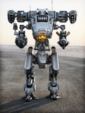 Robot Futuristic Mech weapon. With full array of guns pointed Stock Photography