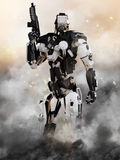 Robot Futuristic Police armored mech weapon. With action background Royalty Free Stock Photo