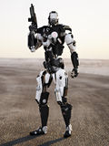 Robot Futuristic Police armored mech weapon. With background Royalty Free Stock Photos