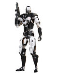 Robot Futuristic Police armored mech weapon. On a white background with clipping path Royalty Free Stock Photo