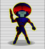 Robot Futuristic Police Blue Red Armor. Cartoon Character. Vector Illustration Stock Photo