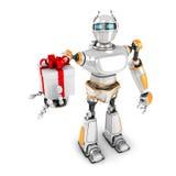 Robot futuristico che presenta il contenitore di regalo illustrazione di stock