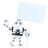 Robot gai heureux avec le conseil vide illustration 3D D'isolement illustration stock