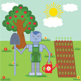 Robot in the garden. Robot standing in the garden with shovel and watering pot Stock Photos