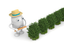 Robot gardener. Robot cuts bush. 3d illustration Stock Photography