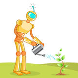Robot gardening Royalty Free Stock Photo