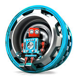 Robot with gear. Isolated. Contains clipping path Stock Image