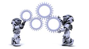 Robot with gear mechanism. 3d Render of robots with gear mechanism Royalty Free Stock Photos