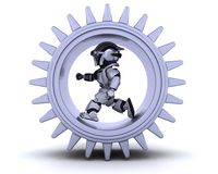 Robot with gear mechanism Stock Photo