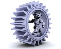 Robot with gear mechanism Stock Photography