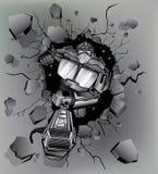 Robot gebroken muur Stock Afbeelding
