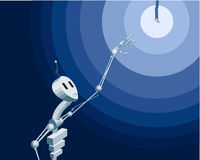 Robot geinteresseerd in licht Royalty-vrije Stock Foto's