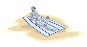 Robot get a tan on a beach Royalty Free Stock Photo