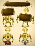 Dispositivi gialli del robot dell'annata Immagine Stock