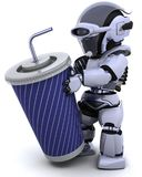 Robot with a giant soda cup and straw Royalty Free Stock Photo
