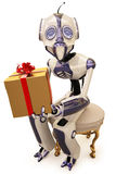Robot and gift Stock Images