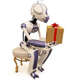 Robot and gift Stock Photography