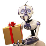 Robot and gift Royalty Free Stock Photo
