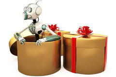 Robot and gift Stock Photos