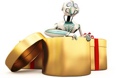 Robot and gift Stock Image