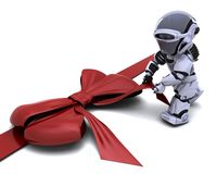 Robot with gift bow. 3D render of robot with gift bow Stock Image
