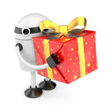 Robot with gift box Stock Image