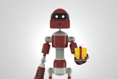 Robot with gift box Royalty Free Stock Image