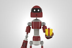 Robot with gift box Royalty Free Stock Photos