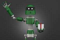 Robot with gift box Royalty Free Stock Images
