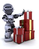 Robot with gift boxes with bows. 3D render of a robot with gift boxes with bows Stock Images