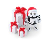 Robot with gift boxes. Christmas concept Stock Images