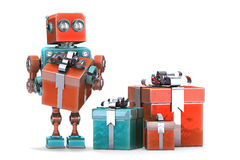 Robot with gift boxes. Isolated. Contains clipping path. Royalty Free Stock Image