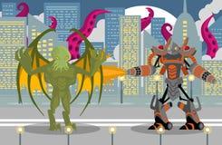 Robot gigante del lanciafiamme che combatte un mostro di tentacoli del rettile dell'ala di cthultu in città fotografia stock