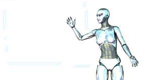Robot girl generates a display Stock Image