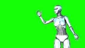 Robot girl generates a heart Royalty Free Stock Photos